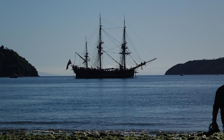 Replica of Cook's Endeavour at Ship Cove in the outer Marlborough Sounds