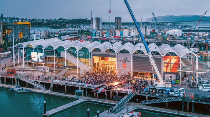 The Team New Zealand base on Auckland's Viaduct Harbour.