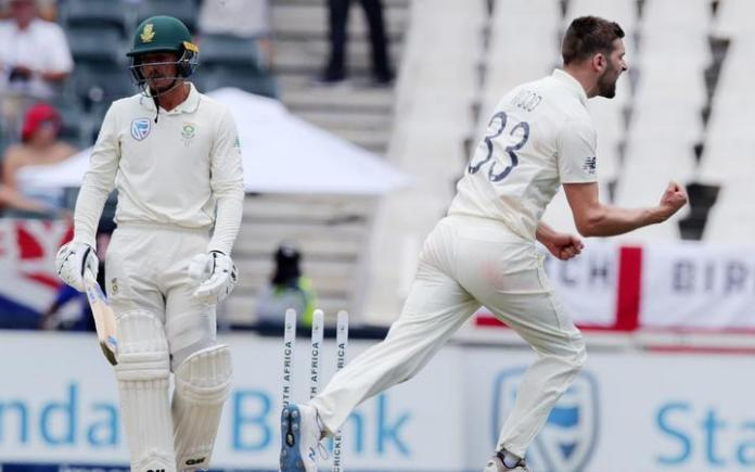 England fast bowler Mark Wood celebrates a wicket against South Africa.