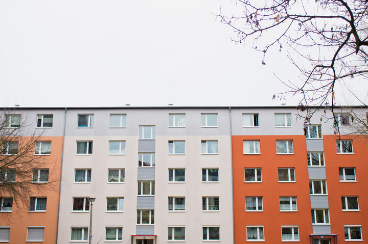 Apartment building, accommodation, housing, rental.