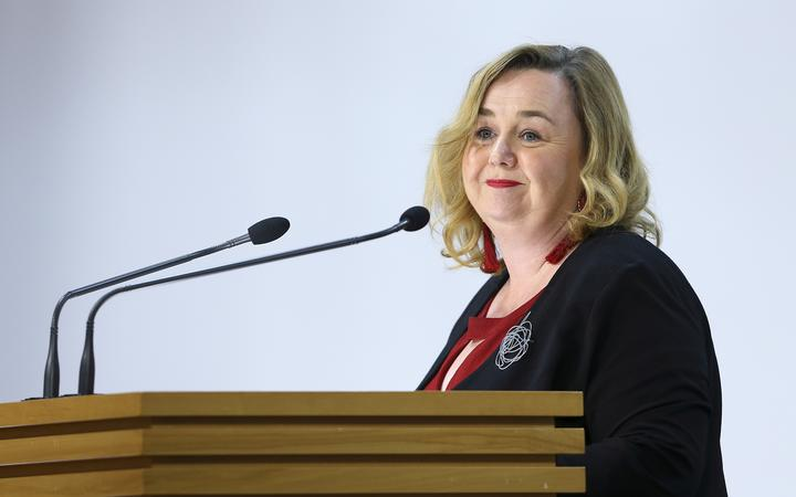 Housing Minister Megan Woods speaks to media during a press conference on Budget 2020 delivery day at Parliament May 14, 2020 in Wellington, New Zealand.