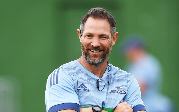 Blues coach Leon MacDonald during a Blues Super Rugby training session.