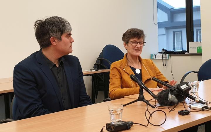 Dunedin mayor Aaron Hawkins and Sue Bidrose addressing media this afternoon regarding her resignation.