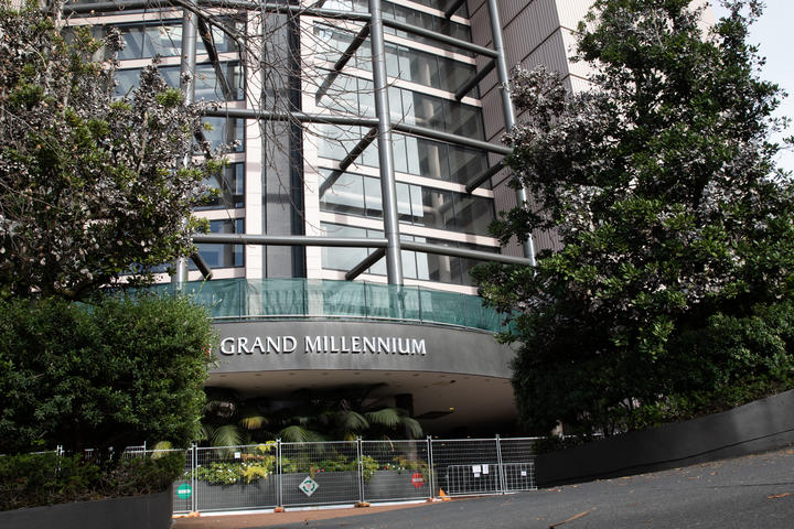 The Grand Millennium Hotel, which is being used as a managed isolation facility, in Auckland CBD.