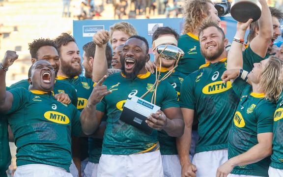 The Springboks celebrate their 2019 Rugby Championship win.