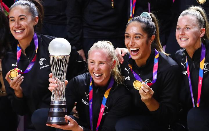 Netball World Cup 2019 final - Australia v New Zealand - M&S Bank Arena, Liverpool, England,World Cup 2019 winners, New Zealand, during the medal ceremony. Laura Langman with the trophy.