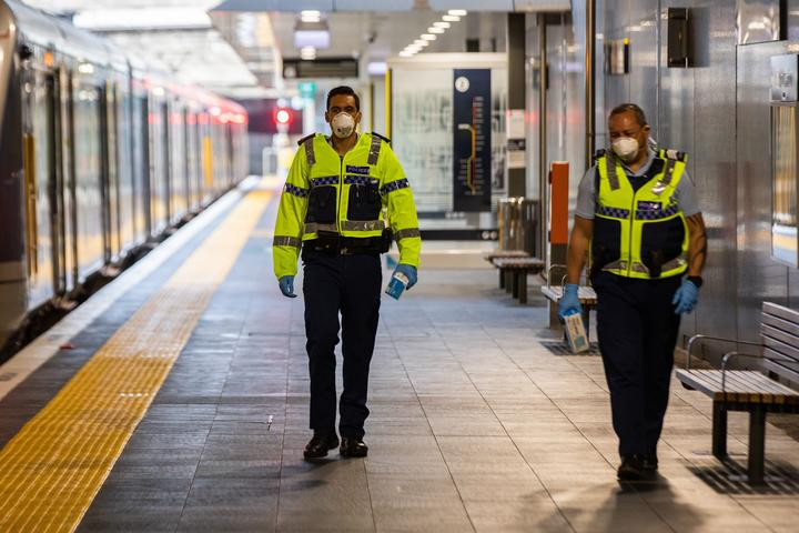 Police at Manukau train station.
