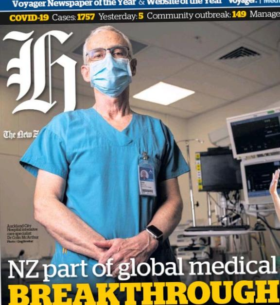 Dr MacArthur on the Herald's front page on Thursday.