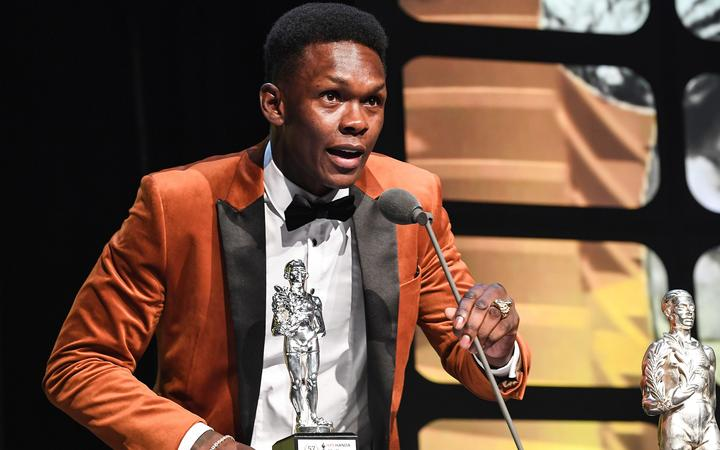 Israel Adesanya makes his acceptance speech after winning the Halberg Award for 2019 NZ sportsman of the year.