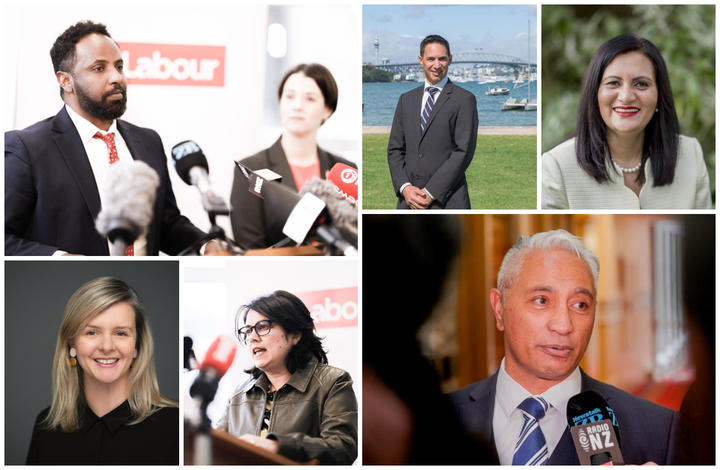 Incoming Labour MPs Ibrahim Omar (top left), Camilla Belich and Ayesha Verrall (bottom left). Outgoing National MPs Dan Bidois, Parmjeet Parmar (top right) and Alfred Ngaro (bottom right).