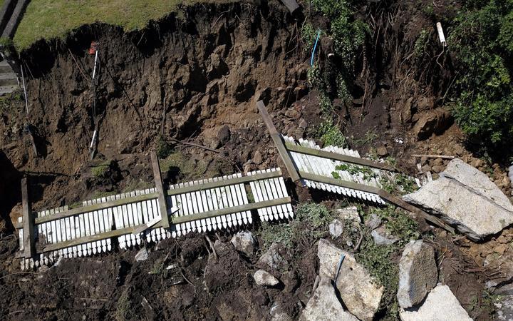 Napier flood - land slip