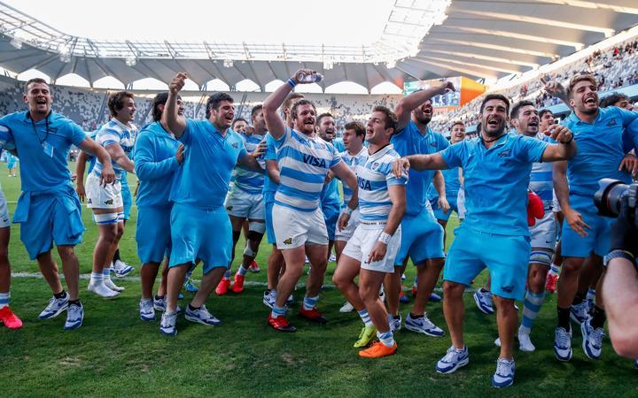Argentina celebrate after beating the All Blacks. Tri Nations rugby union test match. New Zealand All Blacks v Argentina Pumas. Bankwest Stadium, Sydney, Australia. 14th Nov 2020. Copyright Photo: David Neilson / www.photosport.nz
