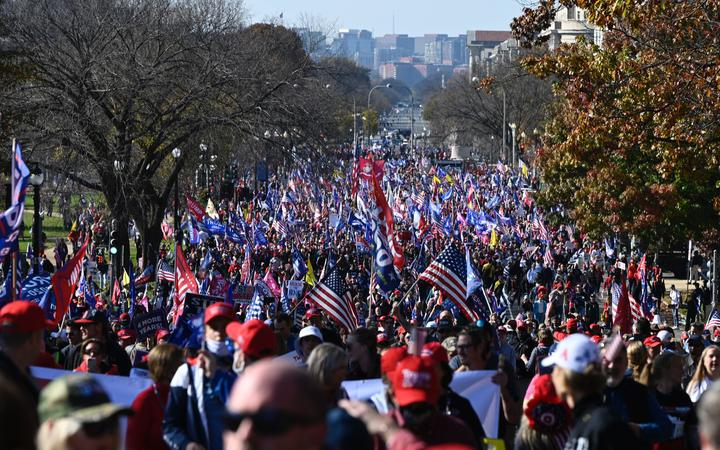 Supporters of US President Donald Trump rally in Washington, DC, on November 14, 2020.