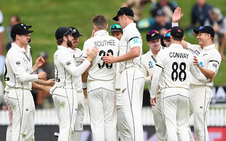 New Zealand cricketers celebrate a Tim Southee wicket.