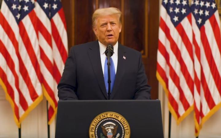 A screengrab from departing president Donald Trump's farewell address.