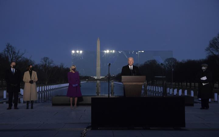 US President-elect Joe Biden leads a memorial ceremony for US coronavirus victims.