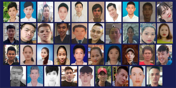 The 39 victims who died in the back of a truck being smuggled from Vietnam into the UK, in 2019.