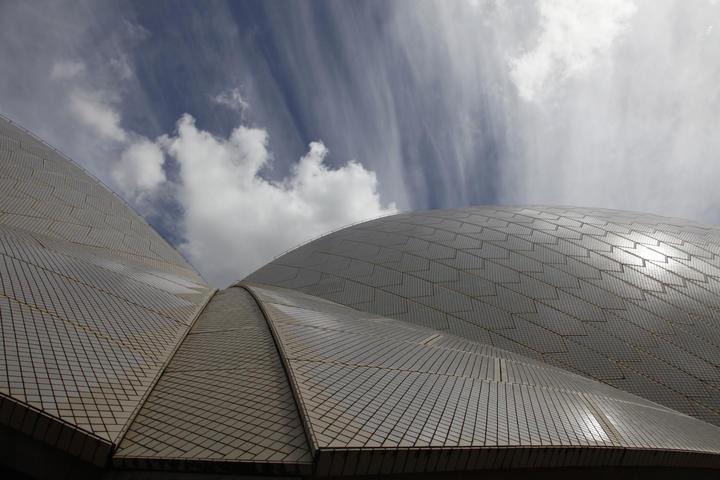 White granite roof tiles on the Sydney Opera House.