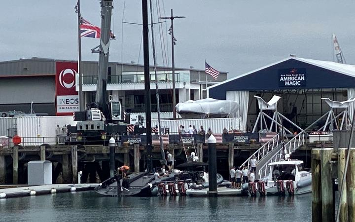 American Magic boat Patriot returns to the water for the first time following repairs after capsize.