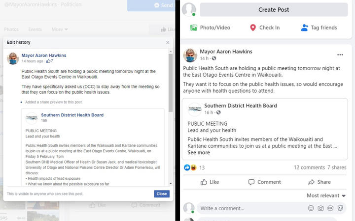Dunedin Mayor Aaron Hawkins' Facebook messages about a public meeting were edited to say the council would be present.
