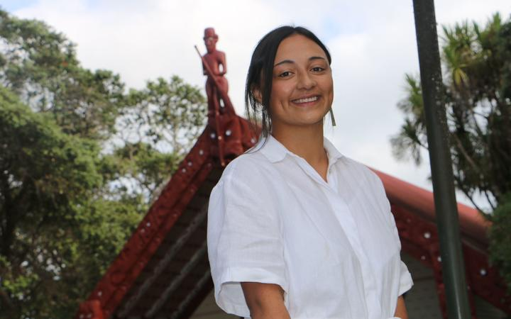 RNZ reporter Te Aniwa Hurihanganui at Waitangi