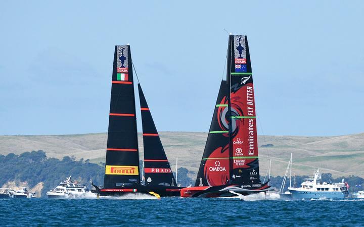 Emirates Team New Zealand v Luna Rossa Prada Pirelli. Race 5, Day 3 of the America's Cup presented by Prada. Auckland, New Zealand, Saturday the 13th of March 2021. © Copyright photo: Chris Cameron / www.photosport.nz