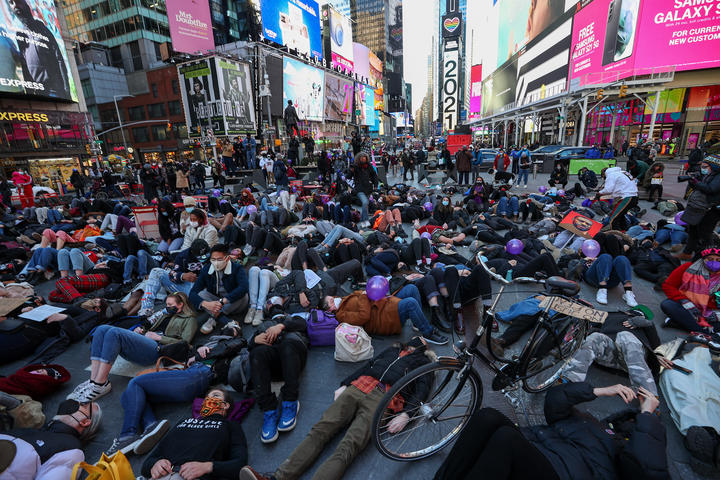 Black Lives Matter protesters gathered at New York City's Times Square and marched on the anniversary of Breonna Taylor's death.
