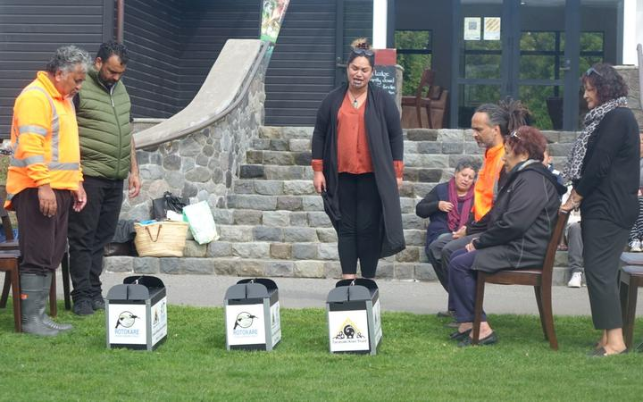 three kiwi are blessed at Pukeiti before being released on the Kaitake range