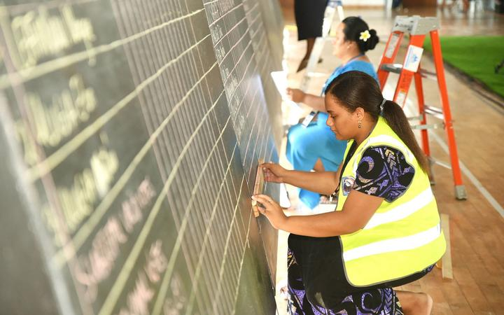 The Samoa Electoral Commission show votes being tallied during the general election in the capital city of Apia
