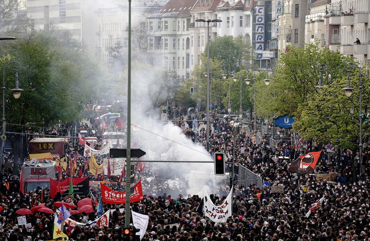 Protesters walk through Berlin, where protests were held in defiance of Covid-19 restrictions.