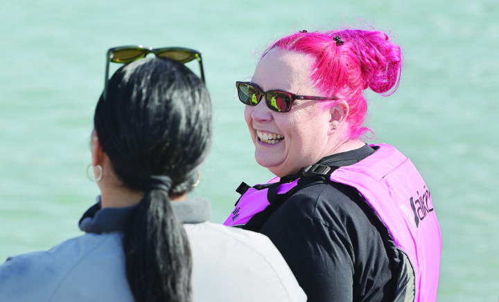 Dr Siouxsie Wiles about to go for a paddle in Gisborne on Friday.