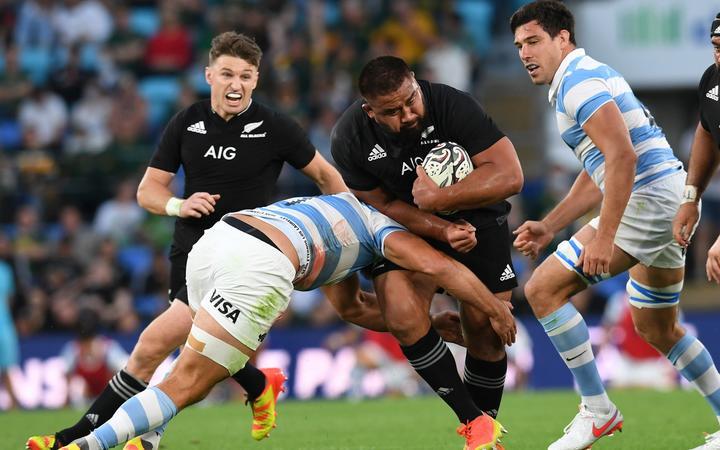 Nepo Laulala. New Zealand All Blacks v Argentina. Rugby Championship test match.