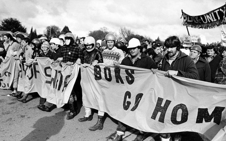 Anti-Apartheid rally during the Springboks tour of New Zealand, 1981.