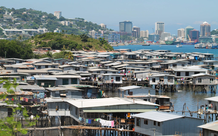 Coastal village of Hanuabada, adjacent to the CDB, in Papua New Guinea's capital Port Moresby.