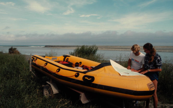 Liz Slooten and Steve Dawson in 1984 preparing to conduct a dolphin survey.