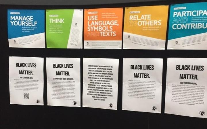 Students at St Andrew's College in Christchurch had been putting up posters to raise awareness of the Black Lives Matter movement.