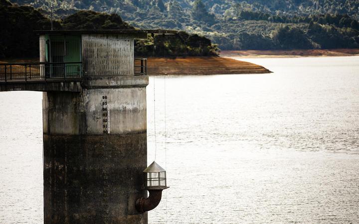 Aerials and stills of the Upper Mangatangi Dam at 44% of capacity