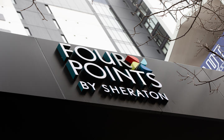 Four Points by Sheraton Hotel, which is being used as a managed isolation facility, in Auckland CBD.