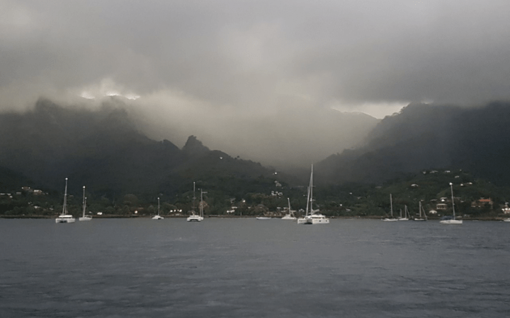 Boats at Nuku Hiva, Marquesas, French Polynesia.