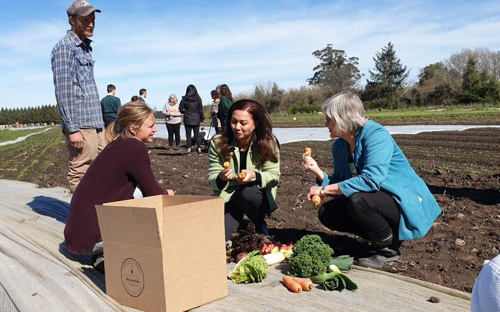 Green Party co-leader Marama Davidson trying out the produce at an organic farm in Leeston on 12 September, 2020.