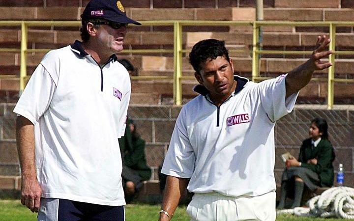 John Wright with Sachin Tendulkar in 2000. Tendulkar is considered as one of the greatest batsman to have graced the game.