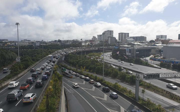 Heavy traffic flows northbound from Auckland city after a crash over the Harbour Bridge caused lane closures.