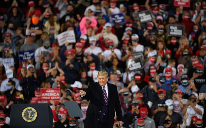President Donald Trump speaks at a campaign rally at Atlantic Aviation on September 22, 2020, Pennsylvania.