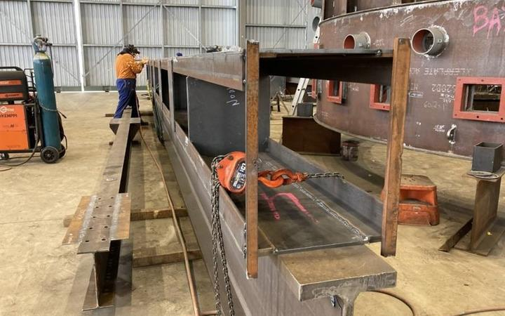 The new strut for the Auckland Harbour Bridge taking shape in a Whangarei workshop. It will be completed and transported by road to Auckland on  Saturday.