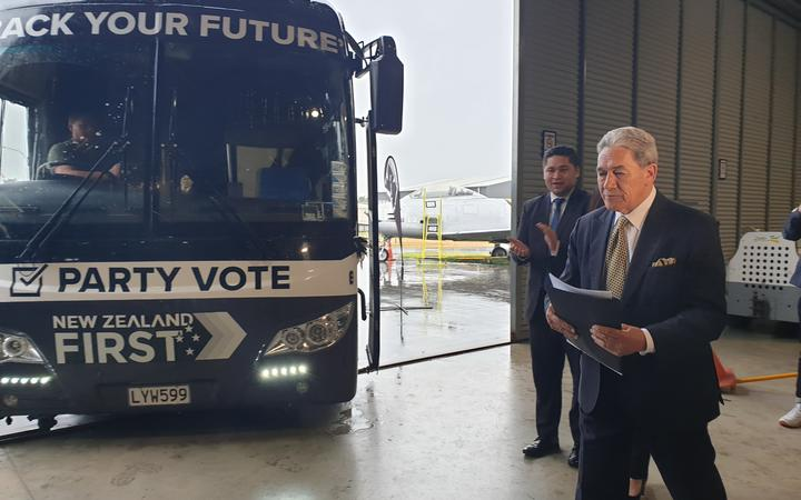Winston Peters with the NZ First bus on the election campaign in Tauranga.