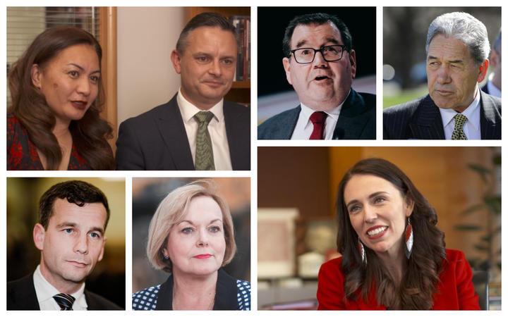 James Shaw and Marama Davidson, Grant Robertson, Winston Peters, Jacinda Ardern, Judith Collins and David Seymour