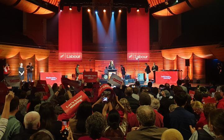 A Labour Party election rally at the Michael Fowler Centre in Wellington on 11 October 2020.