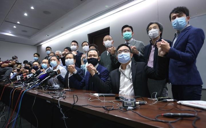 Pan-democratic legislators hold a press conference to resign from the Legislative Council en masse after Alvin Yeung Ngok-kiu, Kwok Ka-ki, Kenneth Leung and Dennis Kwok were disqualified when China passed a new resolution in Hong Kong.