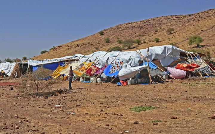 A make-shift shelter housing Ethiopian refugees who fled fighting in Tigray province, at the Um Rakuba camp in Sudan's eastern Gedaref province.