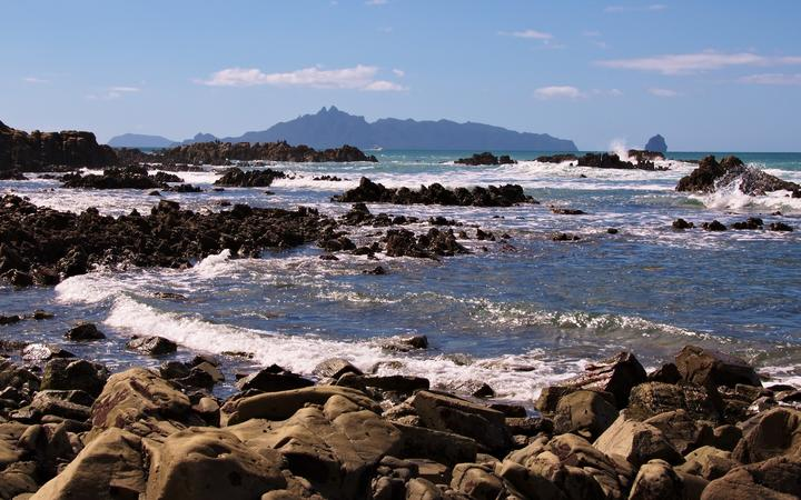 Mangawhai Heads with Taranga Island in the background.